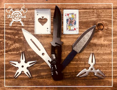 throwing knives, ninja stars and playing cards
