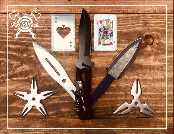 axe throwing knives, stars and cards
