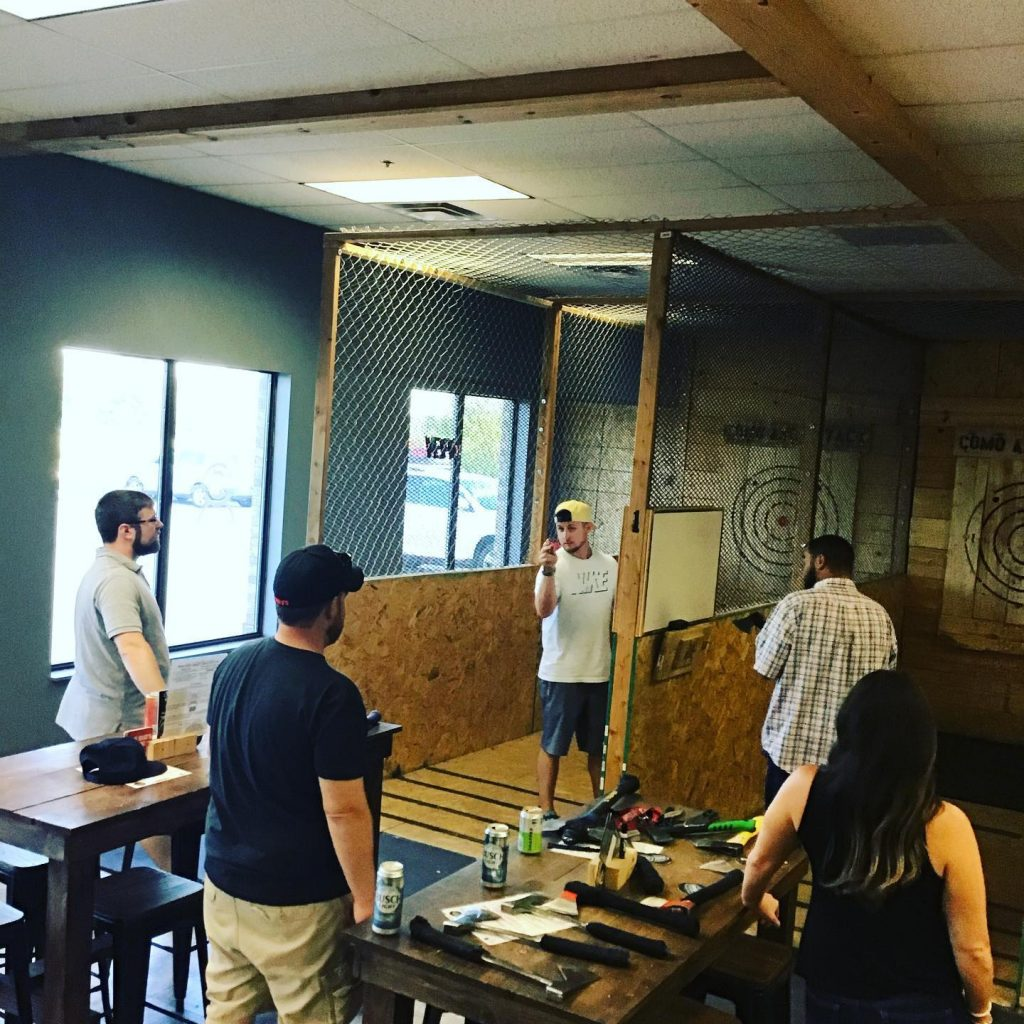 people at Columbia axe throwing lanes